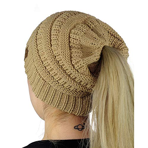 Easy-W Camel Beanie Colorful Soft Stretch Cable Knit Beanie Ponytail Hole JA820