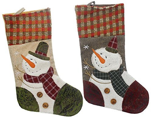 Country Snowman Stocking (Christmas Holiday Rustic Burlap Country Snowman Stockings, Tan, Beige, Grey, White, Multicolor, 2 Pack, Assorted Designs, 17