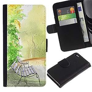 For Apple iPhone 4 / iPhone 4S,S-type® Bench Watercolor Autumn Fall Nature - Dibujo PU billetera de cuero Funda Case Caso de la piel de la bolsa protectora