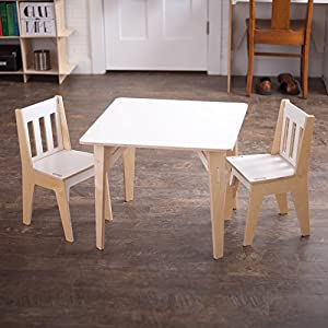 White Wooden Kids Table And Chairs, Folding Activity Table Set, American  Made