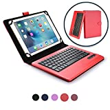 9 - 10.1'' inch tablet keyboard case, COOPER INFINITE EXECUTIVE 2-in-1 Wireless Bluetooth Keyboard Magnetic Leather Travel Carrying Cases Cover Holder Folio Portfolio + Stand (Red)