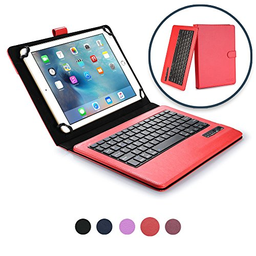 Cooper Infinite Executive Keyboard Case for 9, 10, 10.1 inch Tablets | 2-in-1 Bluetooth Wireless Keyboard and Leather Folio Cover (Red)