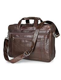 BAIGIO Leather 17 Inch Laptop Briefcase Business Office Tote Handbag Shoulder Luggage Bag (Brown)