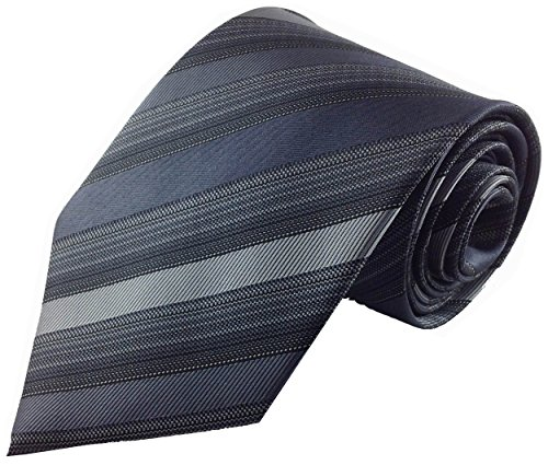 Mens Necktie Charcoal Grey with Tonal Multi Stripe Silk Fashion Tie