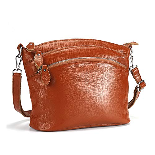 Lecxci Luxury Genuine Leather Cross Body Purses, Zipper Makeup Smartphone Wallets, Over The Shoulder Bags for Women Teen Girls (4 Zipper Pockets - Orange Brown)