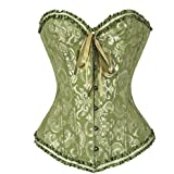 Youloveit Women's Sexy Lace Up Plus Size Overbust Corset Bustier Bodyshaper Tops, Green, Large / 27.56-29.53 Waist