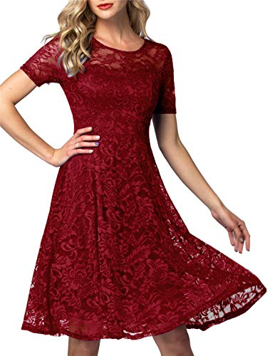 AONOUR Women's Vintage Floral Lace Elegant Cocktail Formal Swing Dress with Short Sleeve Dark Red 3XL