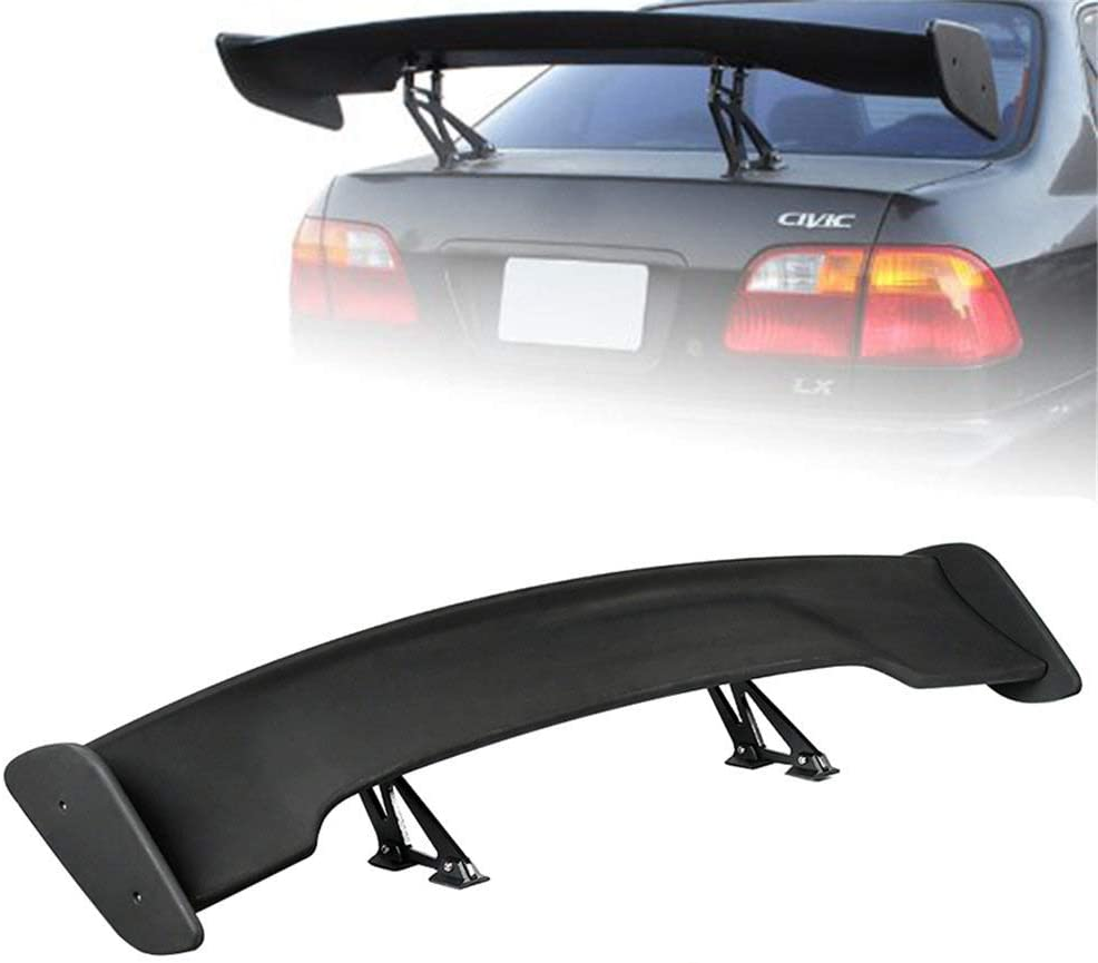 145cm//57inches GT Wing Adjustable Angel Racing Spoiler for Most Automobiles Universal Carbon Fiber Adjustable Rear Trunk GT-Style Spoiler Wing Black