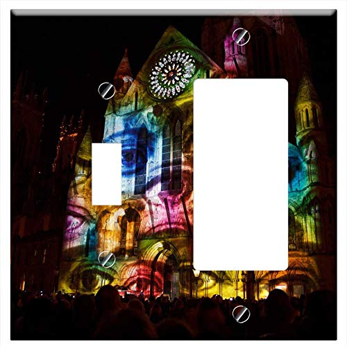 1-Toggle 1-Rocker/GFCI Combination Wall Plate Cover - Video Mapping Projection York Minster Buildin