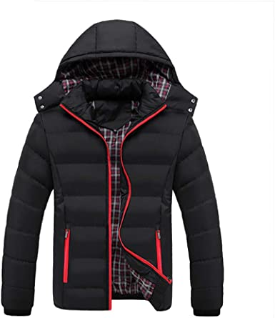 ouxiuli Mens Front-Zip Winter Thicken Padded Mid Long Hooded Down Jacket Coat