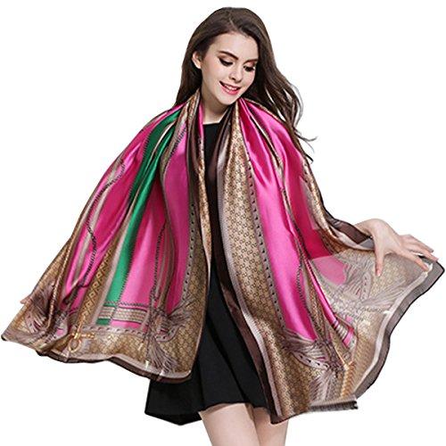 (K-ELewon Silk Feeling Scarf Fashion Scarves Long Lightweight Sunscreen Shawls for Women SK063(Rose red))