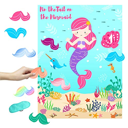 OurWarm Pin the Tail on the Mermaid Party Game, Under The Sea Party Games for Kids Mermaid Birthday Party Supplies, Include 36 Reusable Tails and 2 Eye -