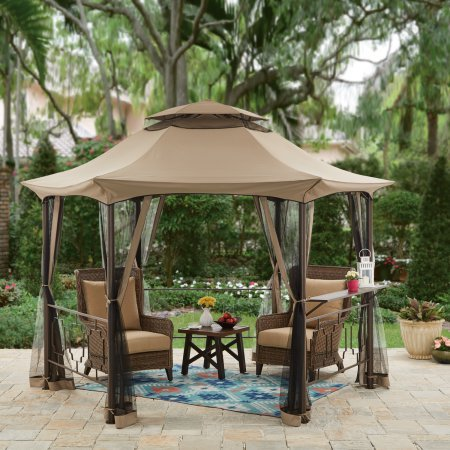 Southern Pines Outdoor 11.8 Dia. x 8.6H ft. Hexagon Gazebo with Curtains (Retailer Curtain)