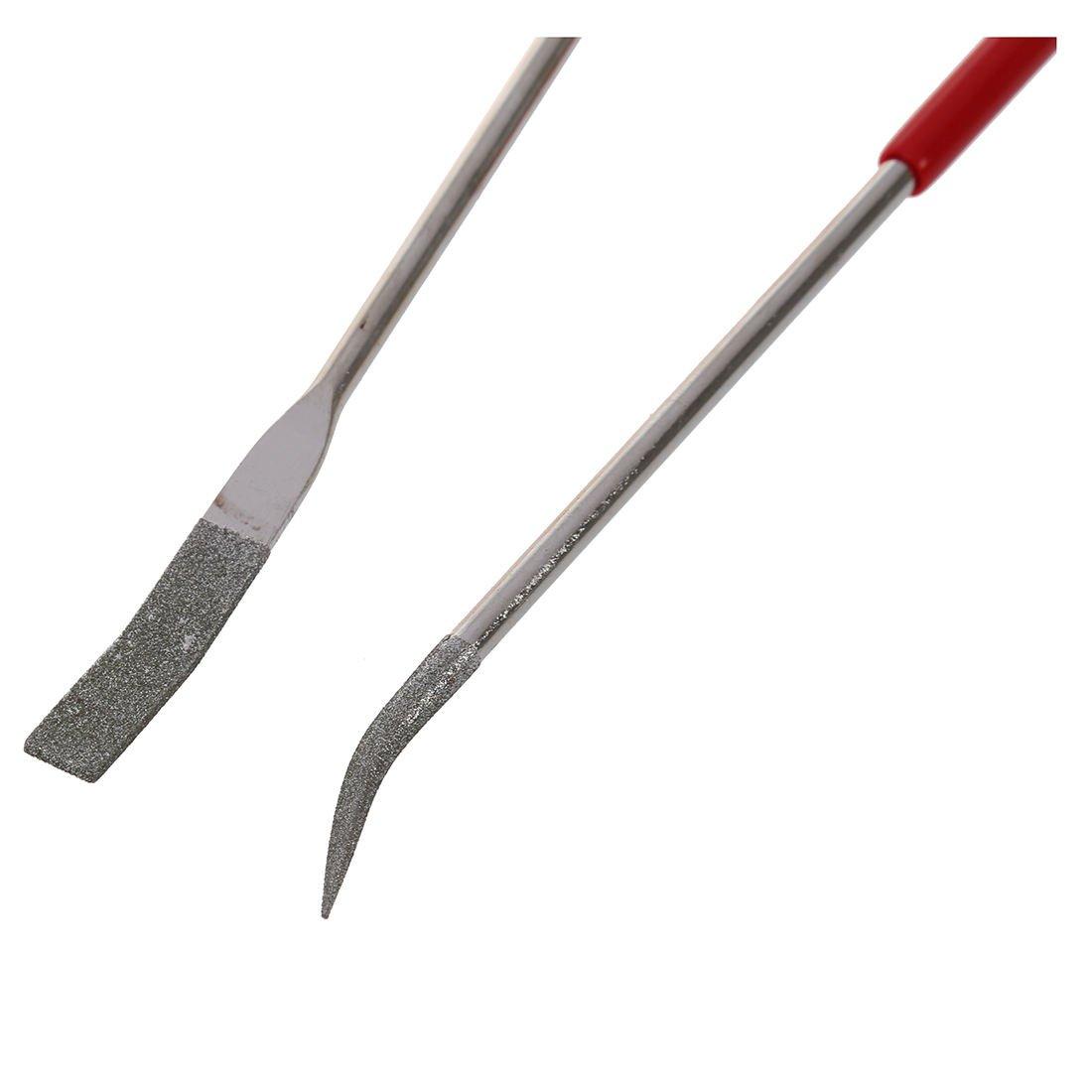 WOVELOT 160 x 4mm Lima aguja de diamante curvado doblado lapidario Manejar rojo 10pzs