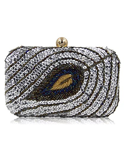 Sliver Cultch Beaded for Clutch Small Handbags Vintage Gold Evening Puluo Women Bag Shoulder Bag Sequin wRB6Yqx