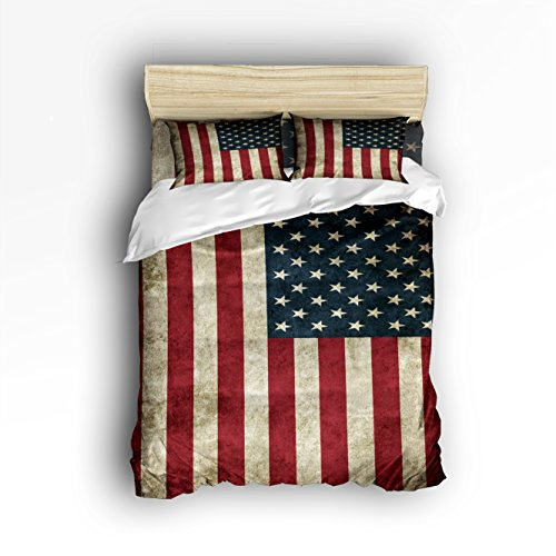 Beauty Decor Bedding 4 Piece bed Set Comfortable Soft Brushed Cotton,American Flag Stars 4 Piece Bed Sheet Set Duvet Cover Flat Sheet and 2 Pillow Cases by Beauty Decor