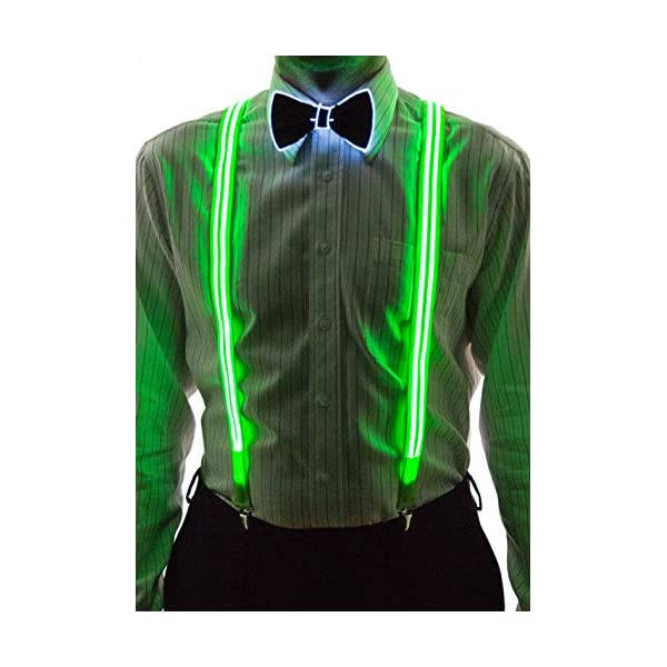 Neon Nightlife Stripe Light Up Led Suspenders For Men Cool Costume Accessory Colorful Blinky Flashy Nerd Clothing Blinkee Com