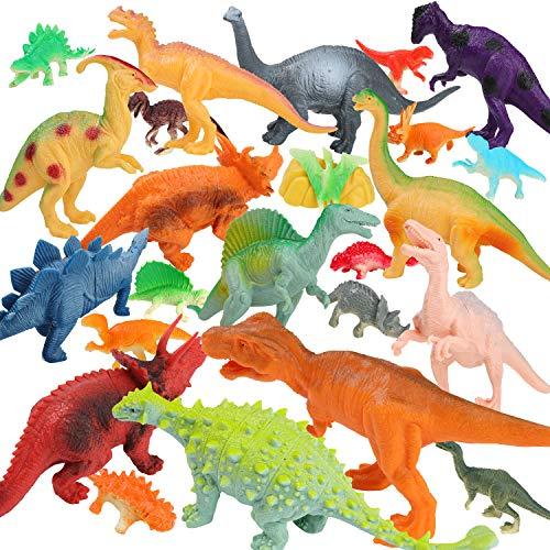 Dinosaur Toys-Realistic Looking Pack of 12 Large 7 Dinosaurs Plastic Dinosaur Figures and 12 Piece Mini Dinosaur Toys Set Assorted
