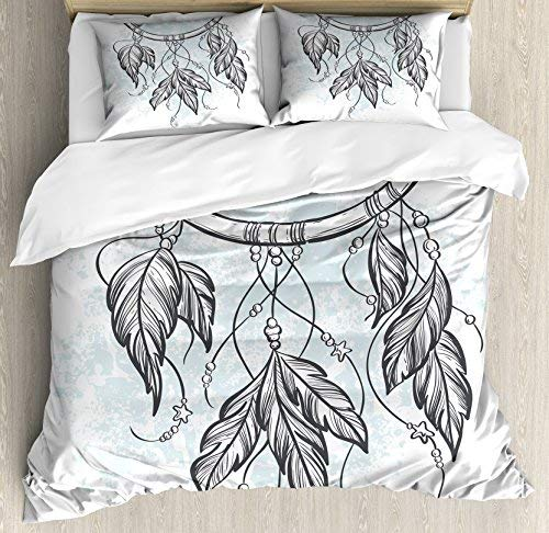 wanxinfu Sweet Dreams 4 Piece Bedding Set Queen Size, Doodle Hand Drawn Dream Catcher Ethnic Aztec Culture Inspired Design, 4 Pcs Duvet Cover Set Comforter Cover Bedspread with 2 Pillow Cases