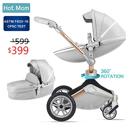 Baby Stroller 360 Rotation Function,Hot Mom Baby Carriage Pushchair Pram 2019,Grey ()