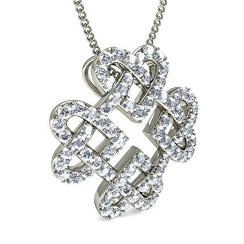 Or blanc 14K 1.14carat au total Round-cut-diamond (IJ | SI) Amour Pendentif