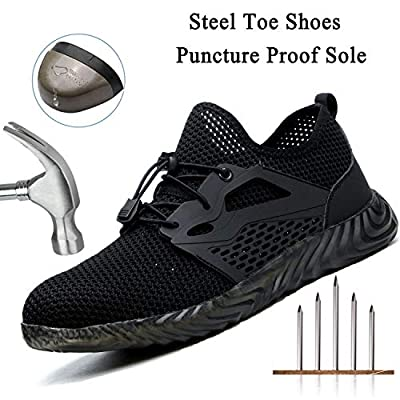 SITAILE Safety Shoes for Men,Indestructible Steel Toe Shoes for Women,Breathable Lightweight Slip Resistant Puncture Proof Industrial Construction Work Shoes