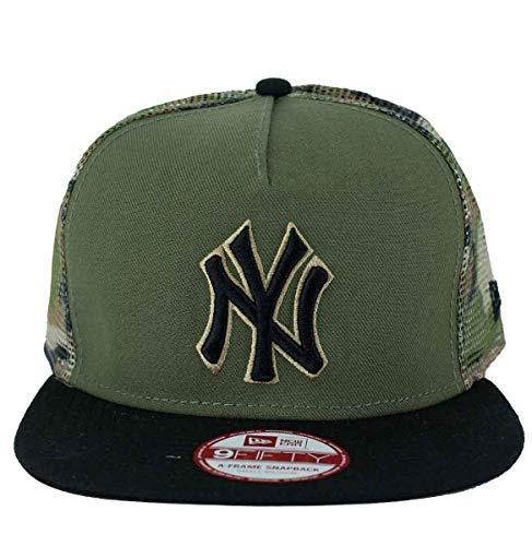 A NEW ERA Era Gorra Snapback, MLB 9Fifty NY Yankees Camuflaje Malla, Beisbol - Negro, Verde, Small - Medium: Amazon.es: Ropa y accesorios