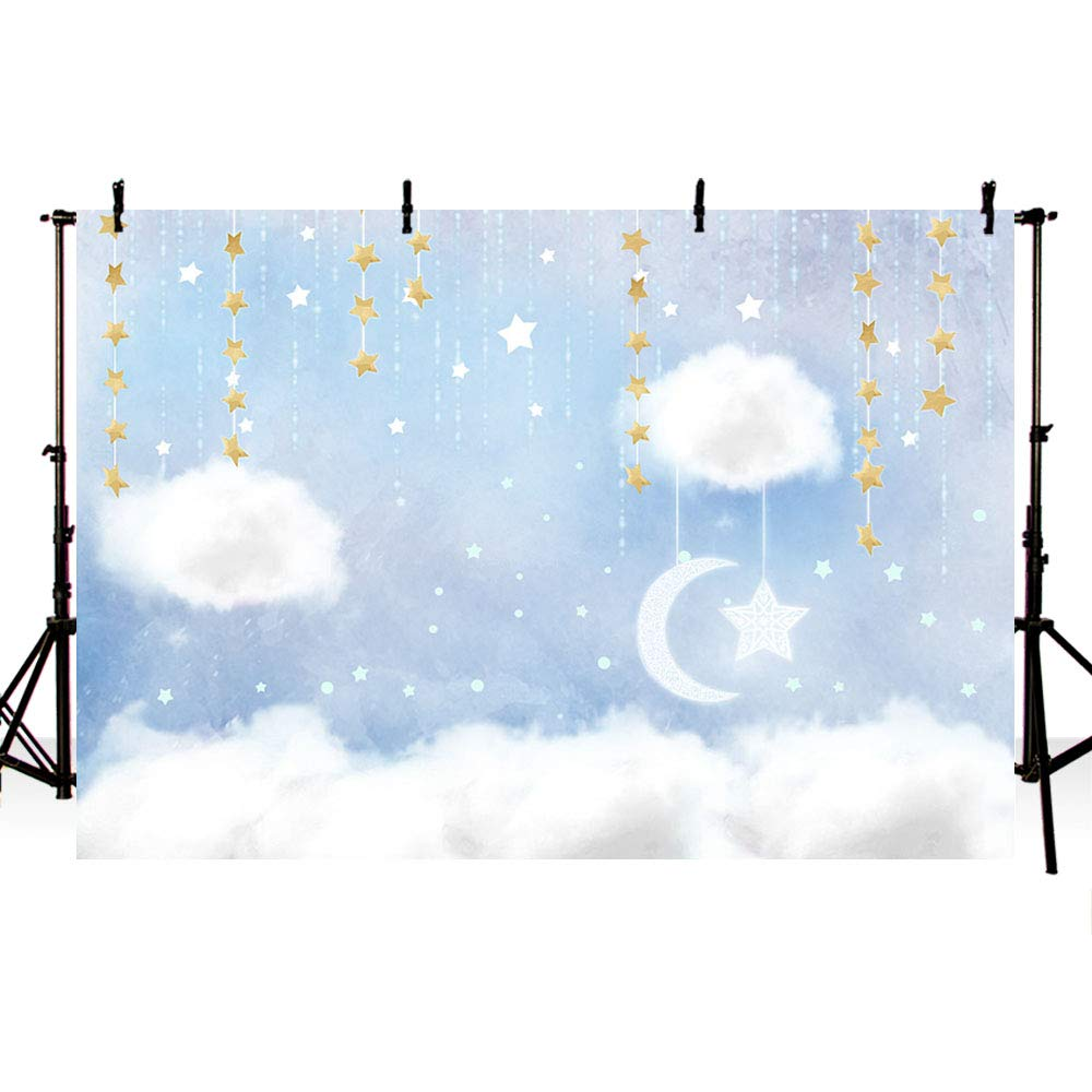 MEHOFOTO Blue and White Cloud Photo Studio Backdrop Props Prince Birthday Boy Baby Shower Party Decorations Hanging Gold Stars Twinkle Twinkle Little Stars Photography Background Banner 7x5ft