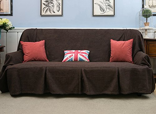 Sofa Throws 1 Piece Heavy Fabric Sofa Furniture Protector Slipcover with Pins (83