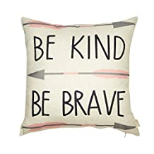 """Fjfz Cotton Linen Home Decorative Throw Pillow Case Cushion Cover for Sofa Couch Tribal Girl Nursery Art, Be Kind Be Brave, 3 Arrows Pink and Grey, 18"""" x 18"""""""