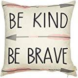 """Fjfz Cotton Linen Home Decorative Quote Words Throw Pillow Case Cushion Cover for Sofa Couch Tribal Girl Nursery Art, Be Kind Be Brave, 3 Arrows Pink and Grey, 18"""" x 18"""""""
