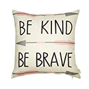 Fjfz Cotton Linen Home Decorative Quote Words Throw Pillow Case Cushion Cover for Sofa Couch Tribal Girl Nursery Art, Be Kind Be Brave, 3 Arrows Pink and Grey, 18  x 18