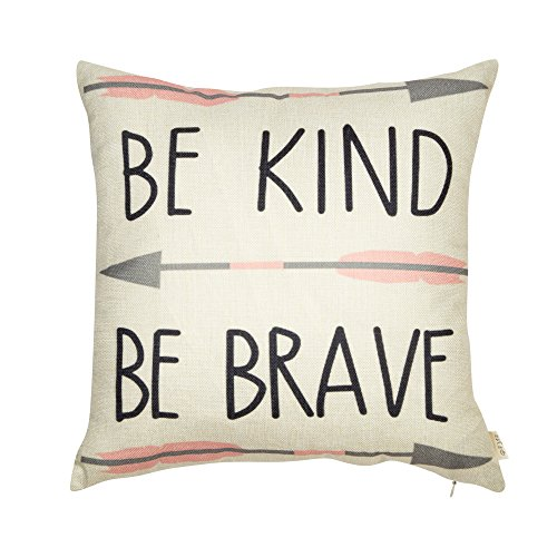 Fjfz Cotton Linen Home Decorative Quote Words Throw Pillow Case Cushion Cover for Sofa Couch Tribal Girl Nursery Art, Be Kind Be Brave, 3 Arrows Pink and Grey, 18