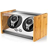 Watch Winder Box for Automatic Watches or Rolex Double Spacious for Any Size, Craftsmanship Bamboo Wood Patent Housing Case, AC or Battery Powered Super Quiet Japanese Motor by Watch Winder Smith