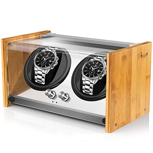 Watch Winders for Automatic Watches, Spacious for Mid to Big Size Rolex Double Automatic Watch Winder, Super Quiet Japanese Motor, AC/Battery Powered Craftsmanship Bamboo Wood by Watch Winder Smith