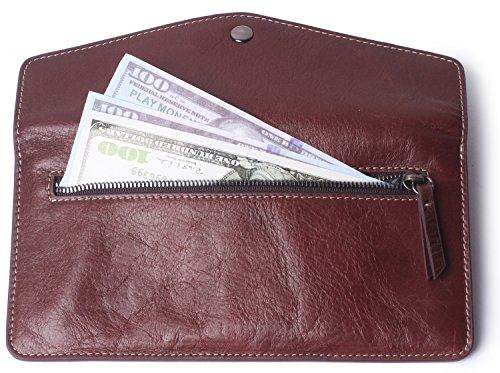 Women's Wallet Leather RFID Ultra-thin Envelope Ladies Purse Travel Clutch