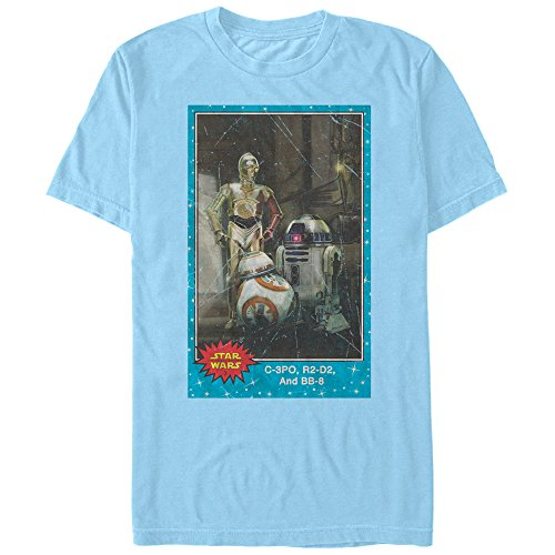 - Star Wars The Force Awakens Men's C-3PO, R2-D2, and BB-8 Trading Card Light Blue T-Shirt