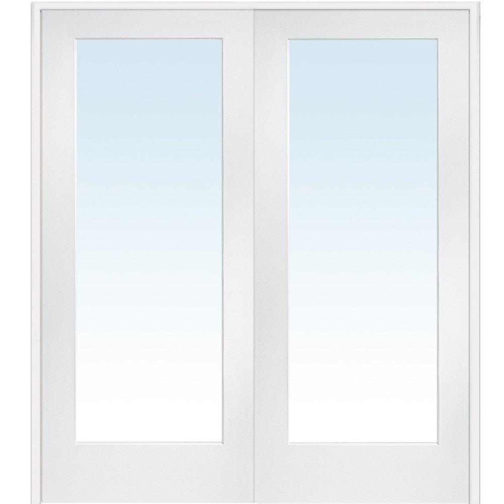 National Door Company Z009301BA Primed MDF 1 Lite Clear Glass, Prehung Interior Double Door, 60'' x 80''