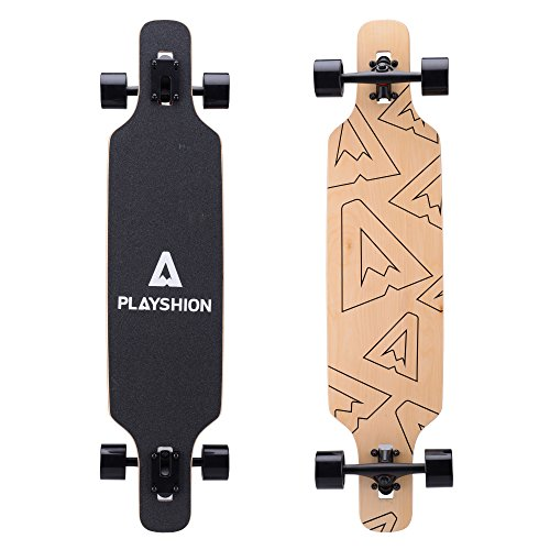 Playshion 39 Longboard Drop-Through Freestyle Skateboards Cruiser Roulements ABEC 9