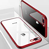 iPhone 8 Plus Case, iPhone 7 Plus Case, TORRAS Crystal Clear Soft Cover Case with Electroplated Frame Ultra Slim TPU Gel Case for Apple iPhone 7 Plus/8 Plus, Clear Back&Red Frame