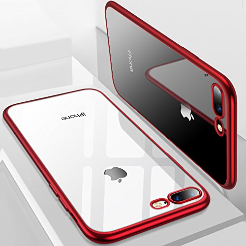 iPhone 8 Plus Case, iPhone 7 Plus Case, TORRAS Crystal Clear Soft Cover Case with Electroplated Frame Ultra Slim TPU Gel Case for Apple iPhone 7 Plus/8 Plus, Clear Back&Red Frame Red Crystal Case