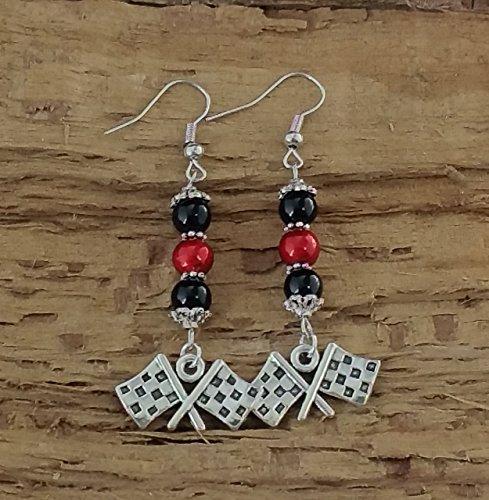 NASCAR Inspired Checkered Flag Earrings - Black and Red