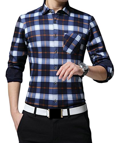 Alion Mens Casual Lapel Long Sleeve Fleece Lined Chcker Thicken Button Down Shirt supplier