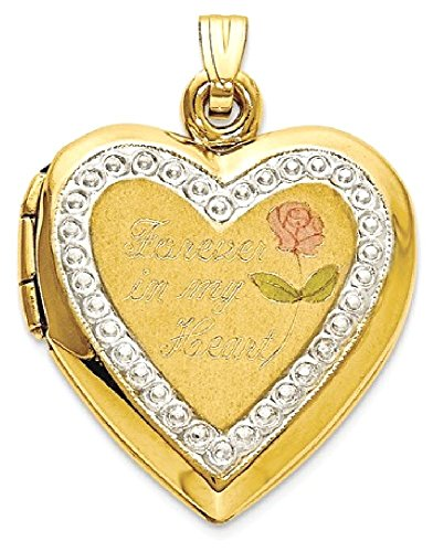 ICE CARATS 10kt Two Tone Yellow Gold Forever In My Heart Locket Pendant Charm Necklace