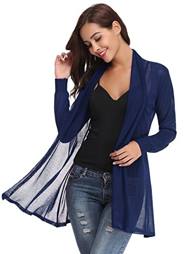 (Abollria Women Summer Sheer Lace Cardigan Beach Wear Swimsuit Bikini Cover up(Navy Blue,M))