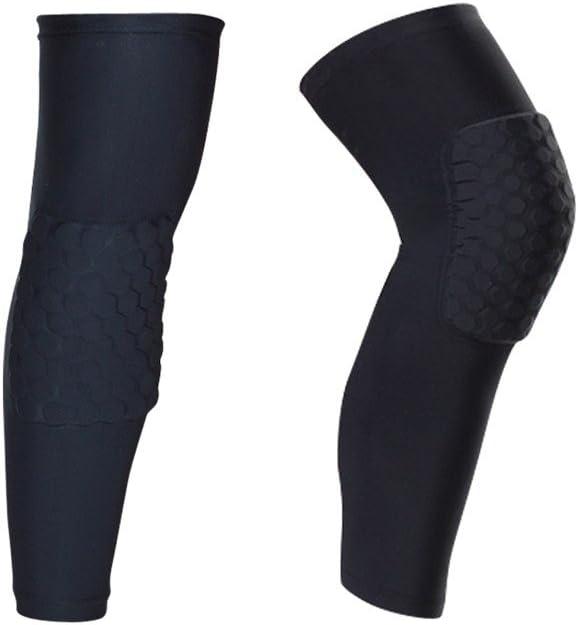 IULONEE Rodilleras Protectoras para Las piernas, 2 Paquetes Antideslizantes para Deportes de Voleibol Baloncesto Rodilleras Coderas Protectores de Compresión Largo (Mediano, Negro)