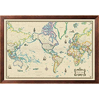 Amazon world map vintage style 36x24 wood framed poster art framed world map modern day as antique on canvas 24x36 gumiabroncs