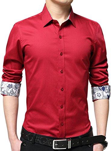 (XTAPAN Men's Printed Dress Shirt Long Sleeve Casual Inner Contrast Regular-Fit Shirt US XS=Asian XL Red 2215)