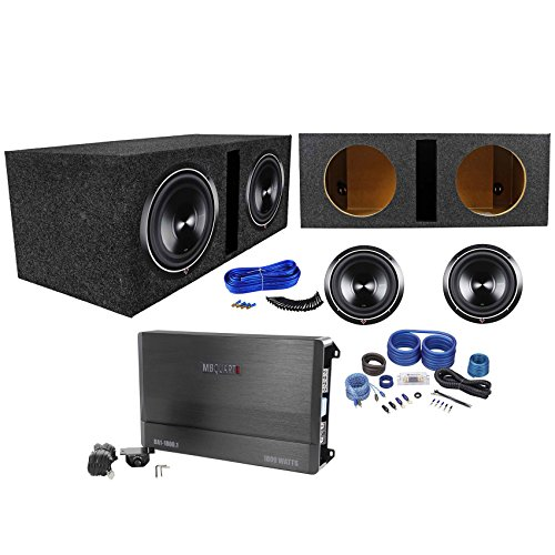 "2 Rockford Fosgate P3D4-10 10"" 2000W Subwoofers+Vented Box+MB Quart Amp+Amp Kit"