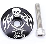 Laime Aluminum Threadless Light Weight Bicycle Headset Cap Aluminum 1 1/8' MTB Bicycle Cycling Headset Top Cap Cover (Black skull)